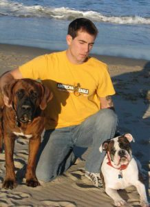 Danny Dietz with Dogs at Beach